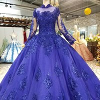 ingrosso gonne blu-2019 Royal Blue Musulmano Puffy Vintage Abiti da sera Maniche lunghe Collo alto Donna Puffy Gonna Abiti Occasioni Ragazza Pageant Dress