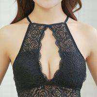 Wholesale bra embroidery design resale online - 2018 Fashion Women Bralette Bra Female Tops Women Neck Hunging Thin Bra Hollow Out Design underwear crop top For