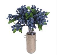 ingrosso piante di mirtilli-NUOVO decorativo finto mirtillo frutto di bacche fiori artificiali fiori di seta per la decorazione domestica di nozze piante artificiali