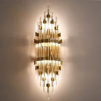 luxuriöse bettwäsche kristalle großhandel-Edler moderner Luxusminimalismus führte Wandlichter kreative amerikanische europäische Ganghintergrundwandlampe-Bettkopfschlafzimmerwandkristallbeleuchtung
