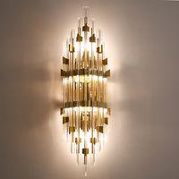lâmpada de cabeça de cristal venda por atacado-Luxo nobre minimalismo moderno levou luzes de parede de cristal criativo Americano fundo corredor europeu lâmpadas de parede cama cabeça quarto iluminação de parede