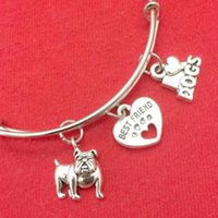 Wholesale best bar accessories online - Bulldog Best Friend and Love Dog Charm Expandable Wire Bangles Vintage Silver Cuff Bangles For Women Jewelry Couple Accessories DIY