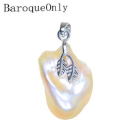 unregelmäßige süßwasserperlenkette großhandel-BaroqueOnly Sonderform unregelmäßige barocke Perlenkette Anhänger natürliche Süßwasser spezielle Farbe Perlen 925 Silber Sterling