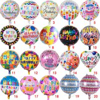 Wholesale flowers balloon - 18 inch happy Birthday letter balloons Helium Foil balloon flower cartoon printed balloons celebrate Birthday Party decoration