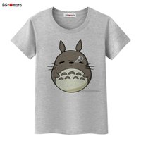 знаменитые мультяшные кошки оптовых-BGtomato famous cartoon Totoro t shirts for women super lovely cat shirts  good quality casual tops hot sale