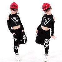 Wholesale Girls Hip Hop Dancewear - Children clothing set kids Black Jazz Hip Hop Modern Dancewear suit girls boy Dance Clothes Long Sleeve Tops+ Pants 2pcs Sets
