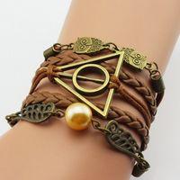 heiligt armband großhandel-Vintage Leder Seil harry Deathly Hallows Armbänder Hand weben mehrschichtige Retro Potter Armbänder für Filmfans