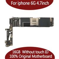 iphone motherboard mainboard großhandel-Getestetes gutes Arbeiten für IPhone 6 Motherboard 16GB 64GB Logik-Brett entsperrt KEIN Touch Identifikation 100% gute funktionierende mainboard IOS Systemkarte