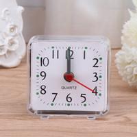 Wholesale mini table clocks - Alarm Clock 2018 New Mini Square Quartz Beep Plastic Desk Table Travel Trip Portable reloj despertador