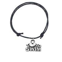 schwimmen schmuck großhandel-Minimale justierbare Wachslinie Armband-Zink-Legierungs-Buchstabe Ich liebe, Wort-Sport-Charme-Armband-Schmucksachen 5pcs / lot 8 Farben für Mädchen / Jungen zu schwimmen