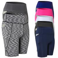 weibliche enge kleidung großhandel-Hohe Taille Running Shorts Frauen Fitness Kleidung Tasche Schweiß Yoga Shorts Weiblich Athletisch Sport Fitness läuft enge Shorts
