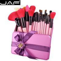 кисти для макияжа оптовых-JAF 32 ШТ. Розовый Набор Кистей Для Макияжа Красные Натуральные Козлиные Кисти для Макияжа в Подарочной Коробке, Упаковывающие Ее Лучший Подарок На День Рождения J32GR-P