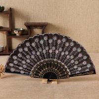 fãs da china venda por atacado-Nova venda quente ventilador de Plástico China ventilador de vento dança de lantejoulas pavão cauda de lantejoulas bordado Yongchun T4H0235 ventilador