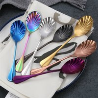 Wholesale delicate accessories for sale - Group buy New Delicate Stainless Steel Coffee Spoon Ice Cream Spoon Colorful Scalloped Flatware Kitchen Accessories Drinking Tool T2I399