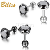 Vintage 7mm Men's Stainless Steel Stud Earrings CZ Black Royal King Crown Round Earring For Male Two colors Selection