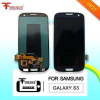 i747 lcd toptan satış-Samsung Galaxy S3 i9300 için LCD Dokunmatik Ekran Digitizer Meclisi i9305 L710 R530 i535 T999 i747 100% Test Orijinal LCD En Kaliteli