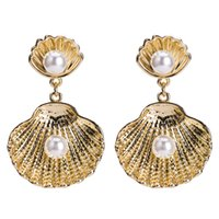 Wholesale indian silver earings - earings Vintage contract luxury Multilayer Imitation pearls shell alloy Drop Earrings gold silver color for Women Jewelry dangle Earrings