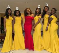 желтая тафта-возлюбленная оптовых-brautjungfernkleid желтый платье невесты 2018 пользовательские элегантный возлюбленной с плеча тафта полная длина платья невесты