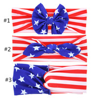 Wholesale Mixed Girl Babies - 2018 Baby American Flag euro stars stripe bowknot Headbands 3 Design Girls Lovely Cute Bow Hair Band Headwrap Children Elastic Accessories