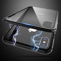 accesorios de telefono para el caso al por mayor-Caja ultra magnética del teléfono para iphone x 7 8 9 h cubierta de vidrio templado para iphone x 8 7 plus case shell capinha accesorios