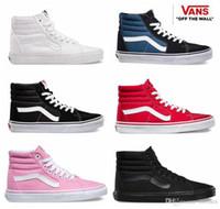 Wholesale hi media - 2018 Vans High Tops SK8-Hi Canvas Classic White Black zapatillas de deporte Women Men Old Skool Casual Sneakers Running Casual Shoes 36-44