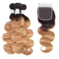blonde ombre cheveux vierges achat en gros de-Cheveux vierges péruviens pré-colorés 3 faisceaux Body Wave Ombre Bundles de cheveux humains avec fermeture Ombre Blonde 1b / 27 Non remy tissage de cheveux péruvien