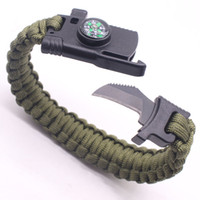 Wholesale Whistle Gear - High quality mix color Multi-functional Outdoor Bracelet Camping Hiking Survival Gear Escape Multi Tool Paracord Whistle Knife Bracelet