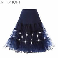 Wholesale Tutu Led - MOONIGHT Tulle Skirts Womens Fashion High Waist LED Lights Tutu Skirt Retro Vintage Women Summer Skirt