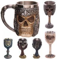 copo de café do dragão venda por atacado-Crânio 3D Canecas de Parede Copos De Aço Inoxidável 200-400 ml Xícara De Chá De Cerveja De Café Cavaleiro Caneca Dragão Dragão Bebendo Livre DHL WX-C10