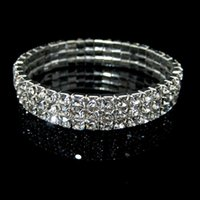 Wholesale Wedding Tennis - Rows 3 Tennis Bracelet Elegant Stretch Bridal Bangle Silver Rhinestones Cute Prom Homecoming Wedding Party Evening Jewelry Bracelet
