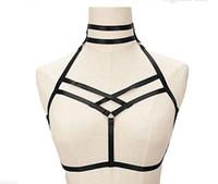 iç çamaşırı esaret gövde kablo demeti toptan satış-Bdsm kadın seksi Goth Lingerie Elastik Demeti kafes sütyen cupless lingerie Esaret Vücut elastik koşum kemer S-XL için uygun Boyutu