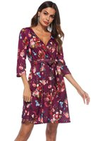 Wholesale womens dresses online - Womens Casual Sexy Floral Printed Dresses Female Long Sleeve V Neck Summer Spring Casual Evening Dresses