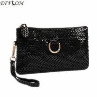 Wholesale leather purses small cheap - Fashion Cheap Women Bags Genuine Leather Suede Clutch Purse Leisure Serpentine Day Clutches With Wristlet Small Hand Bag Black