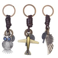 Wholesale Bronze Owl Ring - 3 Styles Bronze Retro Cool Alloy Keychain Pendant Backpack Pendant With Wings Plane Owl Creative Shape Key Chain Ring Decor Free DHL G798F
