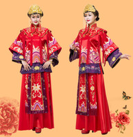 Wholesale Vintage Kimono Robe - Oversea chinese wedding dress costume kimono the bride red evening dress vintage long Qipao suit la robe de mariage de chinois