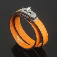 Wholesale Round Bracelet Patterns - Jewelry wholesale CDC double skin cross pattern leather bracelet h round buttons palm Leather Bracelet