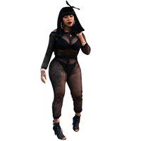 d67e60b6dc Black Sheer Mesh Sexy Bodysuit Jumpsuit Women Long Sleeve Off The Shoulder  Hollow Out Bodycon Romper Fishnet Jumpsuit Clubwear