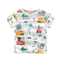 ingrosso camicia dell'automobile del bambino-2018 Estate New Enfant Ragazzi Ragazze T-shirt in cotone per bambini Cartone animato Stampa intera auto Top bambini maglietta manica corta T-Shirt