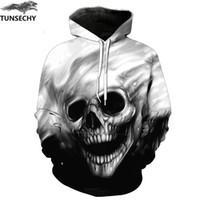 hoodie türleri toptan satış-TUNSECHY Marka 3D Hoodies Erkekler Kapşonlu Tişörtü Erimiş Kafatası 3D Baskı Rahat Sonbahar Hoodies Tişörtü Tops Gevşek tipi