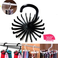 Wholesale Multifunction Tie Belt Necklace Racks Belt Hanger Scarf Holders Hook For Closet Organizers Degree Rotating Hooks Bathroom WX9