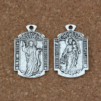 Wholesale mi necklace - o mi Jesus misericordia Medal religion Charms Pendants 50Pcs lot 18.5x31mm Antique Silver Fashion Jewelry DIY Fit Bracelets Necklace