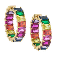 Wholesale copper colored earrings online - rainbow cz hoop earring for women gold plated square baguette cubic zirconia colorful multi colored cz fashion women jewelry