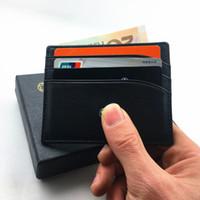 titular de la tarjeta de identificación de metal al por mayor-Male Genuine Leather Famous Designer titular de la tarjeta de crédito Wallet Classic Black Men Slim Fashion ID Card Case 2017 nuevas llegadas Mini Pocket Bag