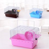 Wholesale portable ventilation - Small Animal Single Storey Cages Portable Plastic Hamster Cage House Ventilation Breathable Freely Pet Supplies Multi Colors 8 5be CB