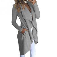 Wholesale women duster coat - Womens Ladies Long Sleeve Long Line Collared Duster Coat Jacket Top
