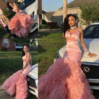 ingrosso bei vestiti da promenade increspati-Beautiful Pink Mermaid Prom Dresses 2018 New Tiered Ruffles Black Girls maniche lunghe da sera usura del partito abiti personalizzati Made Cheap