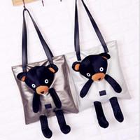 Wholesale bear clutch bag - Pu Leather Bear Doll Tote Bag Clutch Shoulder Bag Girl Handbag Plush Bear Women Casual Crossbody Bag OOA3851