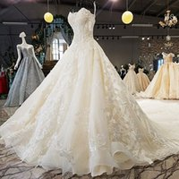 Wholesale spaghetti hand skirt resale online - 2019 Luxury Lebanon Wedding Dresses Spaghetti Sleeveless Backless Shining Crystal Hand Made D Floral Applique Pattern Garden Wedding Gowns