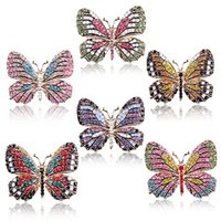 accesorios de mariposas joyas al por mayor-Joyería de moda coreana Rhinestone colorido Butterfly Starfish Boca Broches Animal de aleación Broche Ramillete Accesorios Femeninos D0120