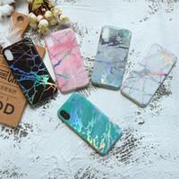 couverture dorée pour iphone achat en gros de-Viaerson Bling shine laser Golden Marble Imprimé Glitter Soft Tpu couverture de cas de téléphone pour iPhone 6 6s plus 7 8 plus X cas